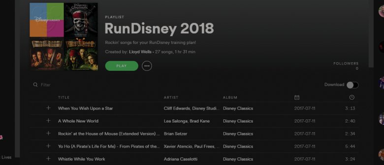Spotify runDisney 2018 playlist
