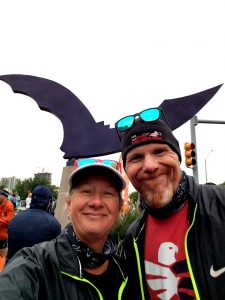 Sandy and Lloyd at the Austin Bat Sculpture