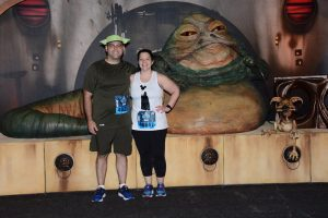Michelle and Michael Malchaski with Jabba the Hut