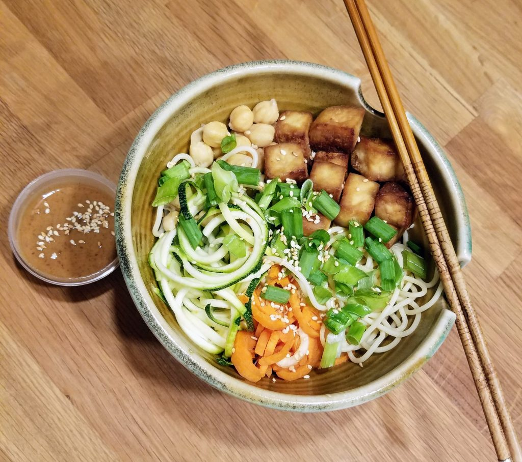 Cold Sesame Noodle bowl with crispy tofu