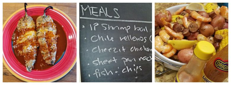 Collage of chile rellenos, meal list on a chalkboard, shrimp and sausage boil